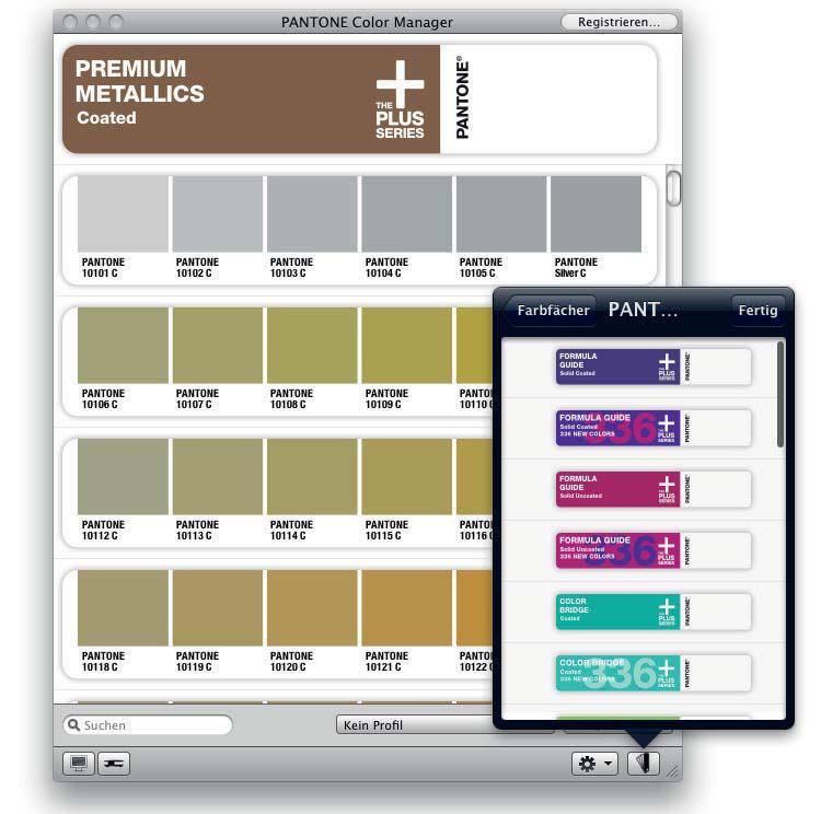 anzeige der premium metallics bibliothek im pantone color manager - Pantone Color Manager